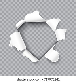 Torn hole in the sheet of paper isolated on a transparent background. Vector realistic template design.