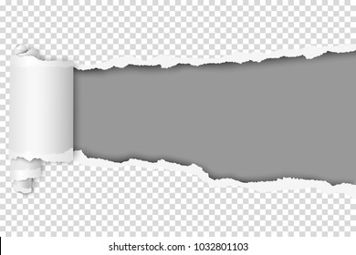 Torn hole in sheet of transparent paper. Vector template paper design.