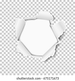 Torn hole in the sheet of transparent paper. White background of the resulting window. Vector template design.