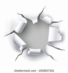 Torn hole with transparent background in the sheet of white paper. Space for text