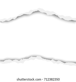 Torn hole in white paper with white background. Vector illustration.