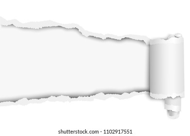 Torn long hole in sheet of white paper with wrapped paper tear. Vector template paper design.