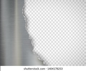 Torn metal plate. Isolated on a transparent background. Vector template.