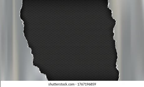 Torn metal plate on a steel perforated background. Vector illustration