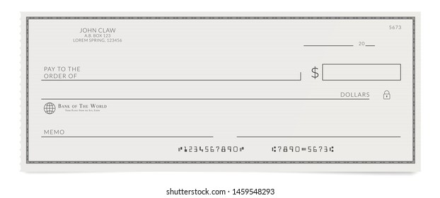 Torn off blank bank cheque. Personal desk check template with empty field to fill