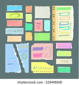 Torn off paper sheets with hand drawn symbols. Pieces of color and checkered notebook pages with doodles isolated vector illustrations. Handmade stickers for memo and messages concept