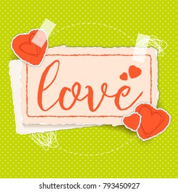 Torn paper banner for Valentine's Day. Paper banner, hearts, tape. Scrapbook style paper banner. Vector illustration.