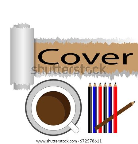 torn paper covers papers coffee mugs stock vector royalty free