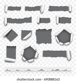 Torn paper detailed photo realistic vector set