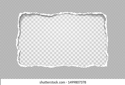 Torn paper with diamond pattern, frame for text on squared background. Vector illustration