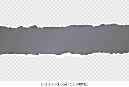 Torn paper edge. Torn paper stripes. Ripped squared horizontal paper strips. Vector illustration.