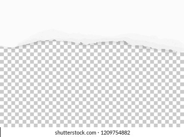 Torn paper edges for background with area for copy space. Ripped paper texture on transparent background. Vector illustration.