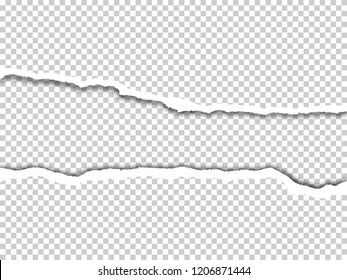 Torn paper edges with shadow on transparent background. Vector realistic ripped paper