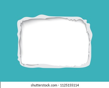 Torn paper frame for text, realistic vector paper with hole and ripped edges