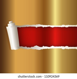 torn paper gold color, suitable for a Christmas background