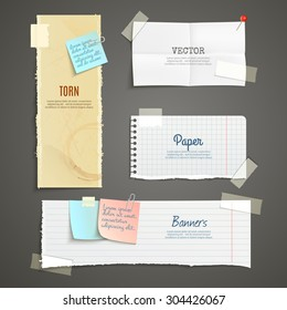 Torn paper lined plaid white yellow clear and folded vertical and horizontal banner set isolated vector illustration