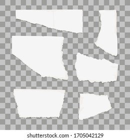 Torn paper piece isolated on transparent background. Vector illustration