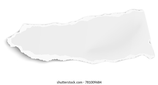 Torn paper piece with soft shadow isolated on white background. Vector illustration.
