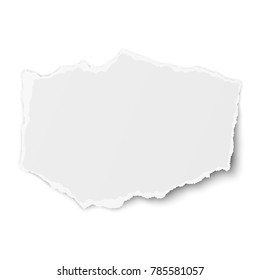 Torn paper piece with soft shadow isolated on white background. Vector template paper design.