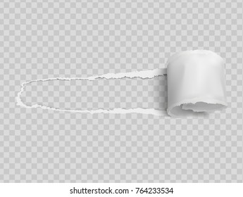 Torn paper realistic, hole in the sheet of paper on a transparent background. Vector illustrations