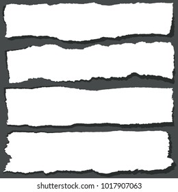 Torn paper ribbons with jagged edges. Abstract grange paper sheets vector set. Ripped paper design banner blank illustration