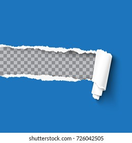 Torn paper with rolled edge on transparent background, frame for text design, realistic vector template. Blue sheet with ripped edges