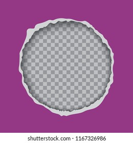 Torn paper round frame vector template