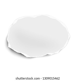 Torn paper scrap of oval shape isolated on white background. Vector illustration.