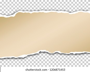 Torn paper with shadow on transparent background. Vector realistic ripped paper note