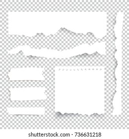 Torn paper sheets. Vector note pieces collection with sticky tape