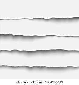 Torn paper strip set realistic vector illustration tear paper edges for banner, header, divider and print design. White tear paper template