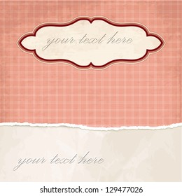 Torn paper vintage background with plaid pattern