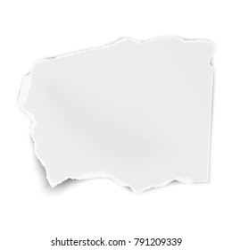Torn paper wisp with soft shadow isolated on white background. Vector template paper design.
