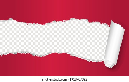 Torn Ped Paper With Transparent Background With Gradient Mesh, Vector Illustration