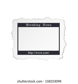Torn piece of newspaper isolated on white background