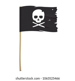 Torn pirate flag with white skull symbol. Waving black vector flag with crossbones emblem.