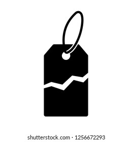 Torn price tag icon. Label with price torn in half for sale or promotion. Vector Illustration