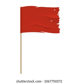 Torn red flag. Waving fabric flag, isolated on background. Tattered vector flag design.