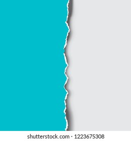 Torn and ripped blue paper edge. Vector illustration