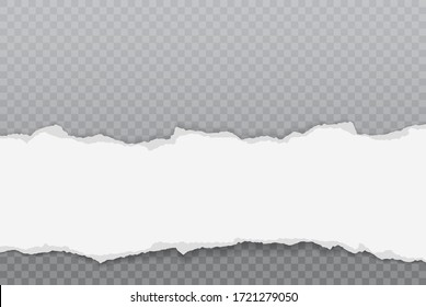 Torn, ripped piece of horizontal white paper with soft shadow is on dark squared background for text. Vector illustration