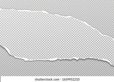 Torn, ripped piece of white and grey paper with soft shadow is on squared background for text. Vector illustration