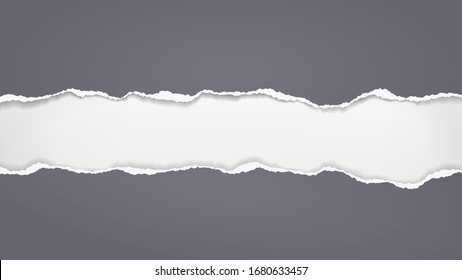 Torn, ripped pieces of horizontal black paper with soft shadow are on white background for text. Vector illustration