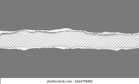 Torn, ripped pieces of horizontal dark grey paper with soft shadow are on white squared background for text. Vector illustration