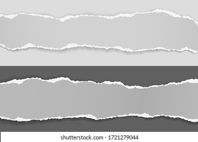 Torn, ripped pieces of horizontal grey paper with soft shadow are on white and black background for text. Vector illustration