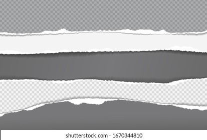 Torn, ripped pieces of horizontal white and black squared paper with soft shadow are on dark grey background for text. Vector illustration