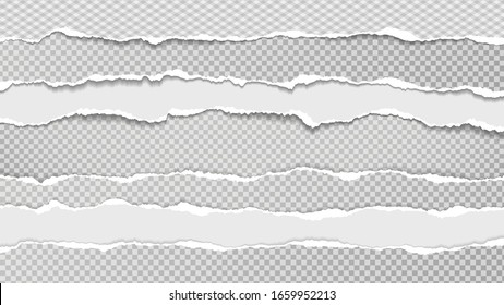 Torn, ripped pieces of white and grey paper with soft shadow are on grey squared background for text. Vector illustration