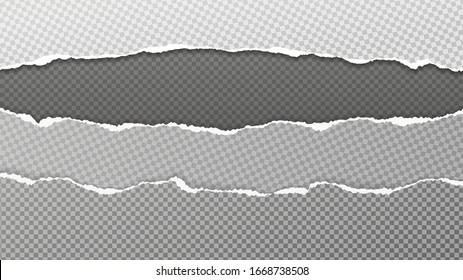 Torn, ripped pieces of white and grey squared paper with soft shadow are on black background for text. Vector illustration
