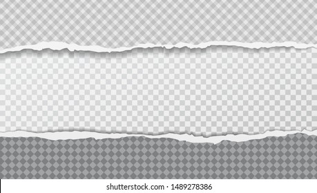 Torn, ripped, squared paper strips with soft shadow for text. Vector template illustration