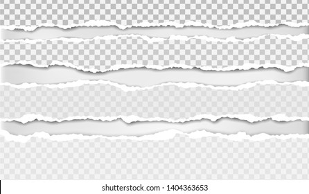Torn, ripped, white and squared paper strips with soft shadow are on white background. Vector template illustration