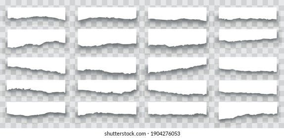 Torn sheets of paper. A set of torn paper and strips of paper on a dark background. Torn paper set vector, layered.Vector illustration.